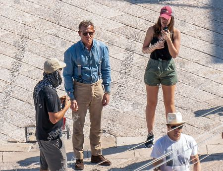 Actor Daniel Craig, second from left, is seen on the set of the latest James Bond movie 'No time to die' in Matera, southern Italy. The film is due out in spring 2020