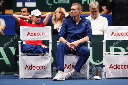 Stock Photo of Coach of Finland Jarkko Nieminen reacts during the game of  Dominic Thiem from Austria against Patrik Niklas-Salminen from Finland during the Davis Cup tie Finland vs Austria in Helsinki, Finland, 13 Septmber 2019.