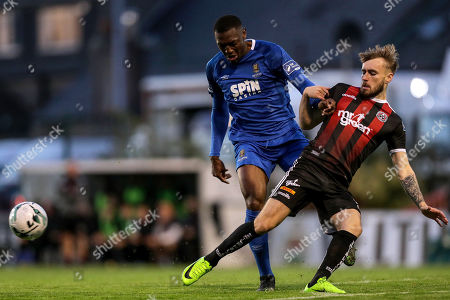 Bohemians vs Waterford. Waterford's Maxim Kouogun and Luke Wade-Slater of the Bohemians