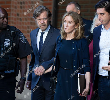 US actress Felicity Huffman (2-R) and her husband actor William H Macy (2-L) exit the John Joseph Moakley Federal Courthouse following her sentencing in connection with the college admission scandal in Boston, Massachusetts, USA, 13 September 2019. Huffman was sentenced to 14 days in prison, she has to pay 30,000 US dollars fine and do 250 hours of community service for her involvement in college admission scandal.