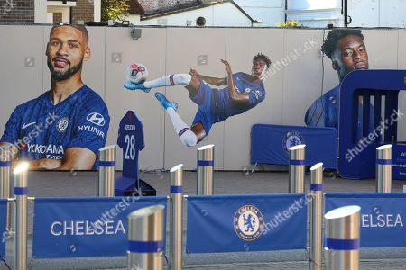 Stock Image of Large images of Ruben Loftus-Cheek, Tammy Abraham and Callum Hudson-Odoi adorn the outside walls near the Main Entrance to the ground during Chelsea Under-23 vs Brighton & Hove Albion Under-23, Premier League 2 Football at Stamford Bridge on 13th September 2019