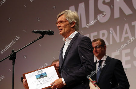 Special guest Danish Academy Award-winning film and television director Bille August delivers his acceptance speech upon receiving the Lifetime Achievement Award of the 16th CineFest International Film Festival during its opening event in Miskolc, northeastern Hungary, 13 September 2019.