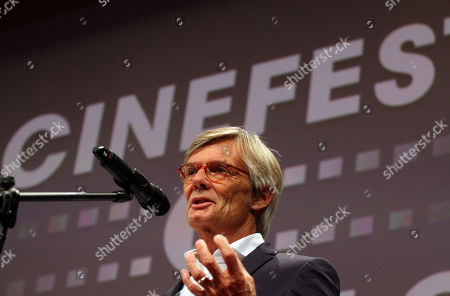 Stock Image of Special guest Danish Academy Award-winning film and television director Bille August delivers his acceptance speech upon receiving the Lifetime Achievement Award of the 16th CineFest International Film Festival during its opening event in Miskolc, northeastern Hungary, 13 September 2019.
