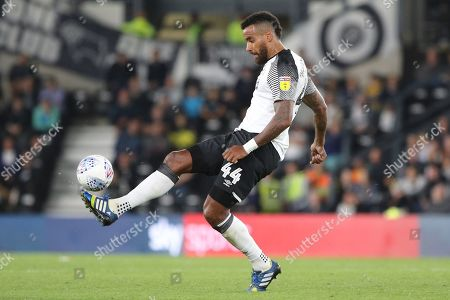 Derby County midfielder Tom Huddlestone controls the ball during the EFL Sky Bet Championship match between Derby County and Cardiff City at the Pride Park, Derby
