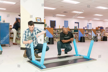 Drew and Jonathan Scott of HGTV's Property Brothers, and authors of Builder Brothers kids book series, in partnership with Kohl's, Scott Brothers Global, HarperCollins, and Heart of America, unveiled a newly renovated library for elementary students at Burnett Elementary School just in time for the new school year on in Houston. Given the school's impact on recovery efforts from Hurricane Harvey, Burnett Elementary School was chosen out of thousands of nominations to receive a library makeover designed in partnership by the Scott brothers and Heart of America