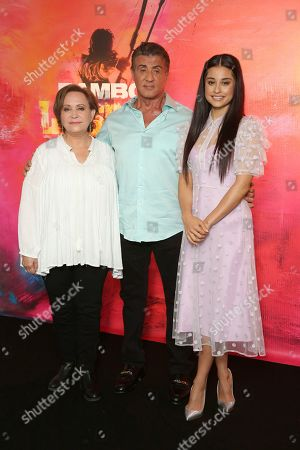 """Adriana Barraza, Sylvester Stallone, Yvette Monreal. Adriana Barraza, from left, Sylvester Stallone and Yvette Monreal attend the """"Rambo: Last Blood"""" Photo Call at the Four Seasons Hotel Los Angeles at Beverly Hills, in Los Angeles"""