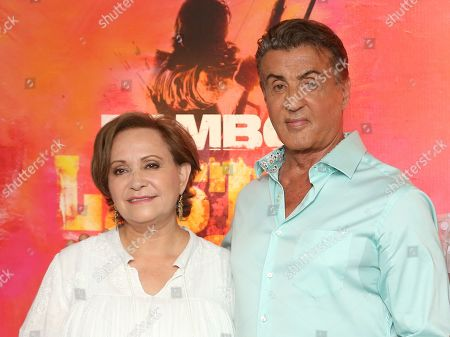 """Adriana Barraza, Sylvester Stallone. Adriana Barraza, left and Sylvester Stallone attend the """"Rambo: Last Blood"""" Photo Call at the Four Seasons Hotel Los Angeles at Beverly Hills, in Los Angeles"""