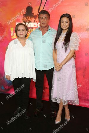 "Adriana Barraza, Sylvester Stallone, Yvette Monreal. Adriana Barraza, from left, Sylvester Stallone and Yvette Monreal attend the ""Rambo: Last Blood"" Photo Call at the Four Seasons Hotel Los Angeles at Beverly Hills, in Los Angeles"