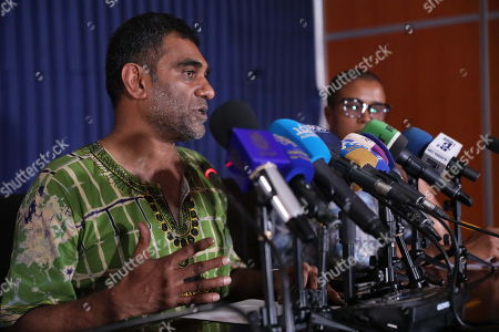Amnesty International Secretary General Kumi Naidoo (L) speaks at a press conference at the Sudanese Ministry of Information, in Khartoum, Sudan, 13 September 2019. This is the first time Amnesty International is back in khartoum since 13 years. The visit comes in the wake of the formation of a new government and a power sharing deal between the army and the opposition in August 2019, following the uprising which resulted in the ousting of the then president Omar Hassan al-Bashir