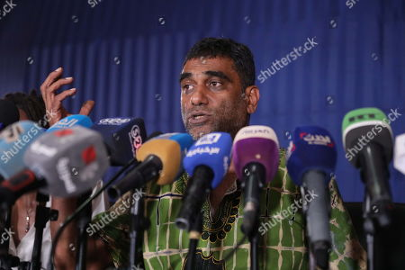 Amnesty International Secretary General Kumi Naidoo speaks at a press conference at the Sudanese Ministry of Information, in Khartoum, Sudan, 13 September 2019. This is the first time Amnesty International is back in khartoum since 13 years. The visit comes in the wake of the formation of a new government and a power sharing deal between the army and the opposition in August 2019, following the uprising which resulted in the ousting of the then president Omar Hassan al-Bashir