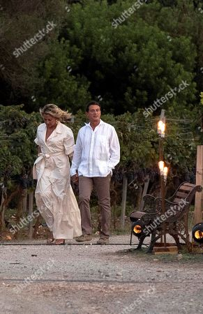 Former French prime minister and Councillor of Barcelona city, Manuel Valls (R), and partner Susana Gallardo (L) take part in a rehearsal of their wedding ceremony in Mahon, Menorca, Spain, 13 September. Their wedding is scheduled for 14 September.