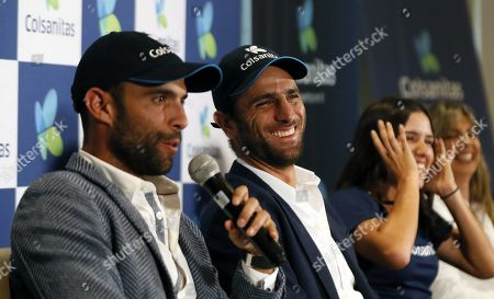 (L-R), Colombian tennis players Juan Sebastian Cabal, Robert Farah and Camila Osorio attend a press conference in Bogota, Colombia, 13 September 2019. Cabal and Farah winning the Men's Doubles Finals of the US Tennis Open and Osorio crowned as champion in the US Open Junior Girls'.