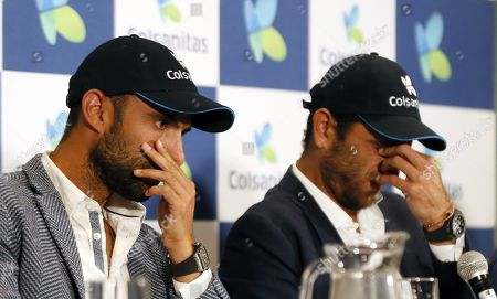Colombian tennis players Juan Sebastian Cabal (L) and Robert Farah (R) attend a press conference in Bogota, Colombia, 13 September 2019. Cabal and Farah won the Men's Doubles Finals of the US Tennis Open 2019.