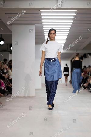 Models wear creations by Marta Jakubowski at the Spring/Summer 2020 fashion week runway show in London