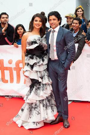 "Priyanka Chopra, Farhan Akhtar. Actress Priyanka Chopra, left, and Farhan Akhtar attend a premiere for ""The Sky Is Pink"" on day nine of the Toronto International Film Festival at Roy Thomson Hall, in Toronto"