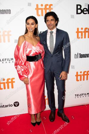 "Shibani Dandekar, Farhan Akhtar. Shibani Dandekar, left, and Farhan Akhtar attend a premiere for ""The Sky Is Pink"" on day nine of the Toronto International Film Festival at Roy Thomson Hall, in Toronto"