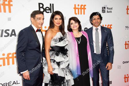 "Niren Chaudhary, Priyanka Chopra, Aditi Chaudhary, Farhan Akhtar. Niren Chaudhary, from left, Priyanka Chopra, Aditi Chaudhary, and Farhan Akhtar attend a premiere for ""The Sky is Pink"" on day nine of the Toronto International Film Festival at Roy Thomson Hall, in Toronto"