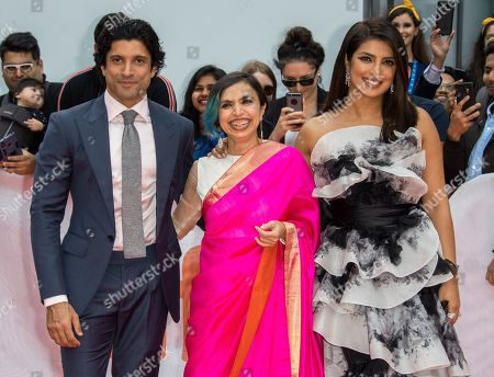 Stock Image of Farhan Akhtar, Indian director Shonali Bose and Indian actress and cast member Priyanka Chopra arrive for the premiere of the movie The Sky Is Pink during the 44th annual Toronto International Film Festival (TIFF) in Toronto, Canada, 13 September 2019. The festival runs from the 05 September to 15 September 2019.