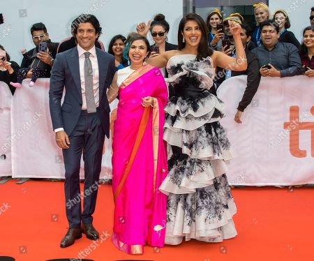 Farhan Akhtar, Indian director Shonali Bose and Indian actress and cast member Priyanka Chopra arrive for the premiere of the movie The Sky Is Pink during the 44th annual Toronto International Film Festival (TIFF) in Toronto, Canada, 13 September 2019. The festival runs from the 05 September to 15 September 2019.