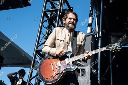 Stock Image of Brian Aubert of the Silversun Pickups performs during KAABOO 2019 at the Del Mar Racetrack and Fairgrounds, in San Diego, Calif