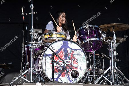 Stock Picture of Chris Guanlao of the Silversun Pickups performs during KAABOO 2019 at the Del Mar Racetrack and Fairgrounds, in San Diego, Calif