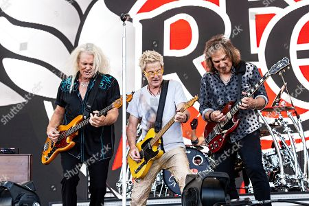 Stock Image of Kevin Cronin; Bruce Hall; Dave Amato. Bruce Hall, from left, Kevin Cronin, and Dave Amato of REO Speedwagon perform during KAABOO 2019 at the Del Mar Racetrack and Fairgrounds, in San Diego, Calif