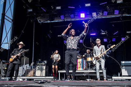 Stock Image of Ty Taylor; Nalle Colt; Rick Barrio Dill; Richard Danielson. Nalle Colt, from left, Ty Taylor, Richard Danielson, and Rick Barrio Dill perform during KAABOO 2019 at the Del Mar Racetrack and Fairgrounds, in San Diego, Calif