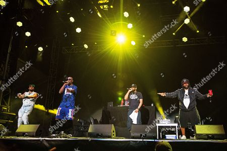 Stock Image of RZA GZA Ghostface Killah Raekwon. RZA, from left, GZA, Ghostface Killah, and Raekwon of Wu-Tang Clan perform during KAABOO 2019 at the Del Mar Racetrack and Fairgrounds, in San Diego, Calif