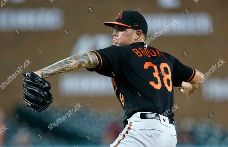 Baltimore Orioles' Aaron Brooks pitches against the Detroit Tigers during the second inning of a baseball game, in Detroit