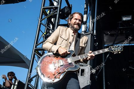 Stock Photo of Brian Aubert of the Silversun Pickups performs during KAABOO 2019 at the Del Mar Racetrack and Fairgrounds, in San Diego, Calif