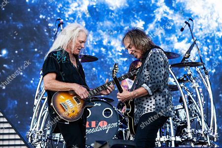 Stock Image of Bruce Hall, Dave Amato. Bruce Hall, left, and Dave Amato of REO Speedwagon perform during KAABOO 2019 at the Del Mar Racetrack and Fairgrounds, in San Diego, Calif
