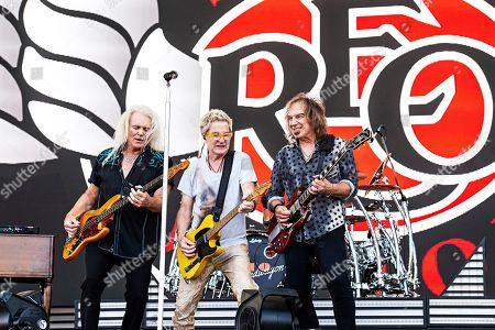 Kevin Cronin, Bruce Hall, Dave Amato. Bruce Hall, from left, Kevin Cronin, and Dave Amato of REO Speedwagon perform during KAABOO 2019 at the Del Mar Racetrack and Fairgrounds, in San Diego, Calif