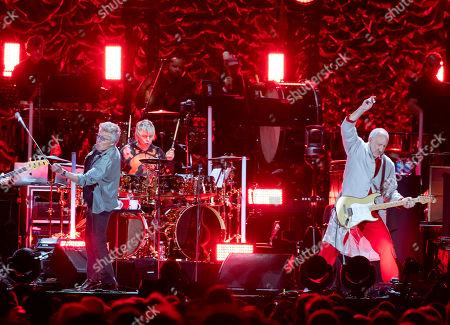 Roger Daltrey, Zak Starkey, Pete Townshend. The Who, from left, Roger Daltrey, Zak Starkey and Pete Townshend perform at Fenway Park, in Boston