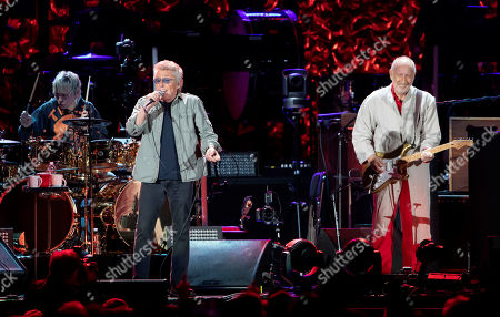 The Who's, from left, Zak Starkey, Roger Daltrey and Pete Townshend perform at Fenway Park, in Boston