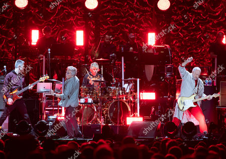 The Who's, from left, Jon Button, Roger Daltrey, Zak Starkey and Pete Townshend perform at Fenway Park, in Boston