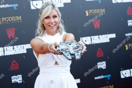 Ashley Eckstein shows her Star Wars' Millennium Falcon clutch as she arrives for the 45th annual Saturn Awards at The Avalon Hollywood in Los Angeles, California, USA, 13 September 2019. The Saturn Awards honors the best in science fiction, fantasy, horror and other genres in film, television, home media releases and theater.