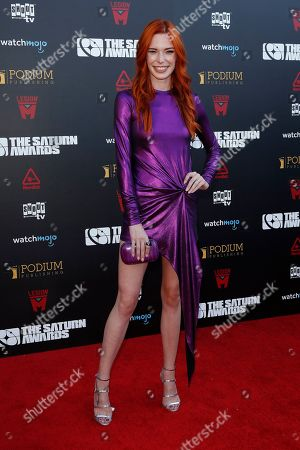 Chloe Dykstra arrives for the 45th annual Saturn Awards at The Avalon Hollywood in Los Angeles, California, USA, 13 September 2019. The Saturn Awards honors the best in science fiction, fantasy, horror and other genres in film, television, home media releases and theater.