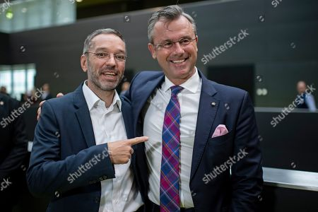 Norbert Hofer (R), designated leader of the right-wing Austrian Freedom Party (FPOe) and top candidate for the upcoming Austrian federal elections, and Former Austrian Interior minister Herbert Kickl (L) arrive for a party convention in Graz, Austria, 14 September 2019.