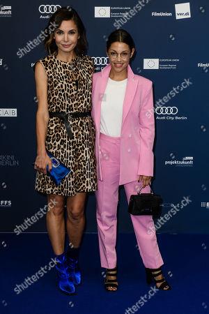 Nadine Warmuth (L) and German actress Anna Julia Kapfelsperger arrive for the German Drama Award (Deutscher Schauspielpreis) ceremony in Berlin, Germany, 13 September 2019 (issued 14 September 2019).