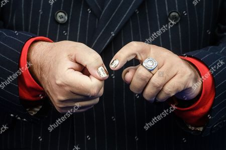 Stock Image of The hands of German artist Friedrich Liechtenstein as he arrives for the German Drama Award (Deutscher Schauspielpreis) ceremony in Berlin, Germany, 13 September 2019 (issued 14 September 2019).