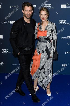 Stock Image of German actor Ken Duken (L) and his wife German actress Marisa Leonie Bach arrive for the German Drama Award (Deutscher Schauspielpreis) ceremony in Berlin, Germany, 13 September 2019 (issued 14 September 2019).