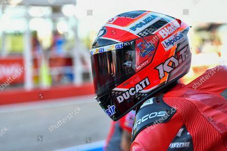 Italian MotoGP rider Danilo Petrucci of Ducati Team during the third practice session for the Motorcycling Grand Prix of San Marino and Riviera di Rimini at Misano Circuit in Santa Monica-Cella, northern Italy, 14 September 2019.
