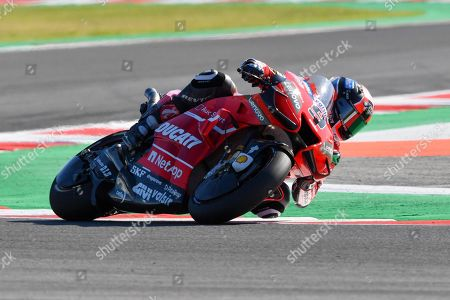 Italian MotoGP rider Danilo Petrucci of Ducati Team in action during the third practice session for the Motorcycling Grand Prix of San Marino and Riviera di Rimini at Misano Circuit in Santa Monica-Cella, northern Italy, 14 September 2019.