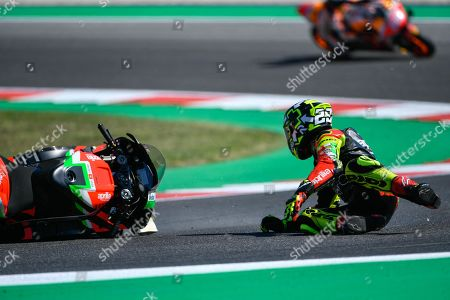 Italian MotoGP rider, number 29, Andrea Iannone, of the Aprilia Racing Team Gresini falls during the free practice/qualifying session of the 2019 Motorcycling Grand Prix of San Marino and Riviera di Rimini at Misano Circuit in Misano Adriatico, Italy, 14 September 2019.