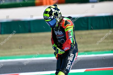 Italian MotoGP rider, number 29, Andrea Iannone, of the Aprilia Racing Team Gresini reacts after a fall during the free practice/qualifying session of the 2019 Motorcycling Grand Prix of San Marino and Riviera di Rimini at Misano Circuit in Misano Adriatico, Italy, 14 September 2019.