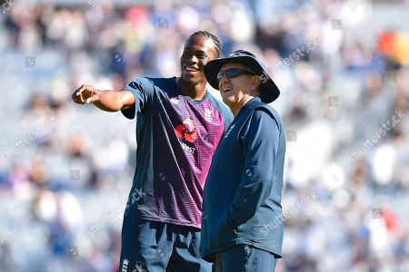 Stock Image of Jofra Archer of England watching his tv interview on the big screen with England head coach Trevor Bayliss ahead of the 5th International Test Match 2019 match between England and Australia at the Oval, London