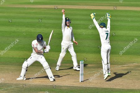 Ben Stokes of England survives an lbw shout from Cameron Bancroft of Australia and Tim Paine of Australia during the 5th International Test Match 2019 match between England and Australia at the Oval, London