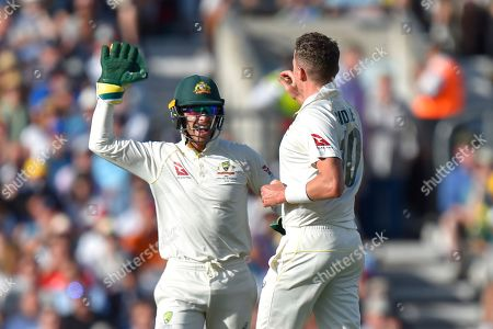 Wicket - Peter Siddle of Australia celebrates taking the wicket of Joe Denly of England during the 5th International Test Match 2019 match between England and Australia at the Oval, London