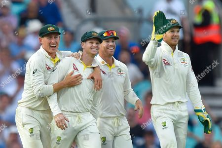 Wicket - Steve Smith of Australia celebrates catching Chris Woakes of England off the bowling of Mitchell Marsh of Australia during the 5th International Test Match 2019 match between England and Australia at the Oval, London