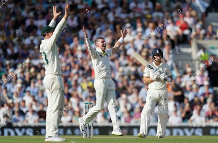Australia's Peter Siddle appeals unsuccessfully the wicket of England's Joe Denly, right, during the third day of the fifth Ashes test match between England and Australia at the Oval cricket ground in London